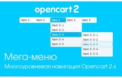 Модуль Мега-меню для Opencart 2