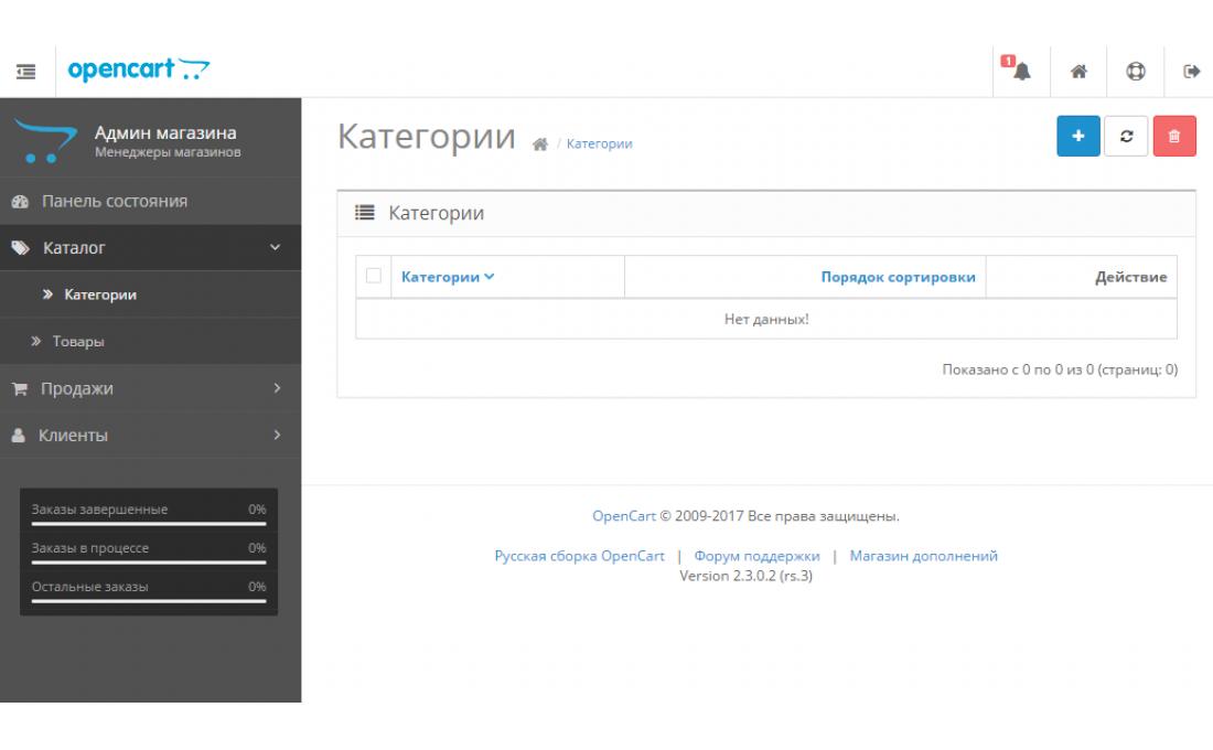 Скрыть недоступные пункты меню в админке Opencart 2